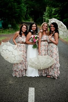 love printed bridesmaids dresses