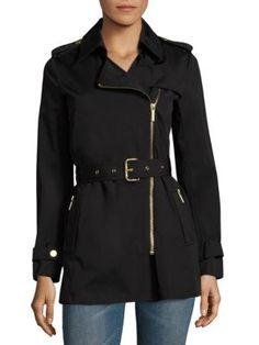 MICHAEL MICHAEL KORS Zip Front Trench Coat. #michaelmichaelkors #cloth #coat