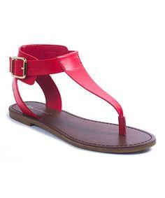 Red Azaria T-Strap Sandal - Women