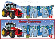 Red Christmas Tractor FINLEY large dl on Craftsuprint by Designer Eva Cano
