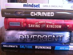 "Author and teacher Franki Sibberson has books for her heart and mind on the ""to be read"" pile:  Mindset by Carol Dweck  Chained by Lynne Kelly  The Hero's Guide to Saving Your Kingdom by Christopher Healy  Divergent by Veronica Roth  Galloway's 5K and 10K Running by Jeff Galloway"