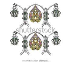 Digital Textile Design Motif Botanical Flower Stock Illustration 2022556016