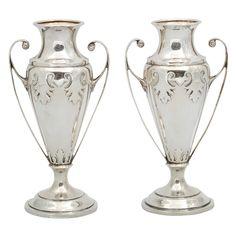 Pair of Elkington & Co. Birminham, Eng. Sterling Silver Trophy Vases