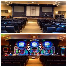 Great week, sharing the Gospel with the families around Marlton, NJ. here's a before/after shot of our invasion at Marlton Assembly. #AlienChurchMakeover #KidzturnChurchMakeover