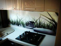 Trawa z kamieniami, panele szklane Backsplash, Kitchens, Kitchen, Cuisine, Cucina