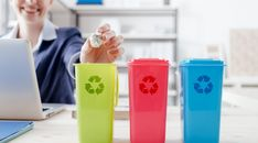 Waste separate collection and recycling in the workplace, office worker sorting garbage using different trash bins Recycling Programs, Recycling Bins, Maurice Careme, Paper Video, Recycling Information, Green Initiatives, Waste Reduction, Green Office, Video Contest