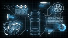 Ad: Car HUD Screen. Futuristic motion graphic video with an animated car, engine, wheel and digital data: analysing, loading information process. Technology Posters, Technology Wallpaper, Technology Design, Digital Technology, Game Ui Design, Pop Design, Game Interface, Interface Design, Futuristic Technology
