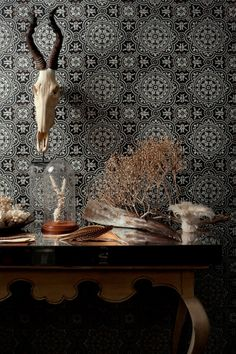 Hand printed wallpaper from Cole and Son.