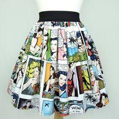 On SALE!!!! Pinup Comic Strip  Skirt  Vintage Inspired Skirt LT White
