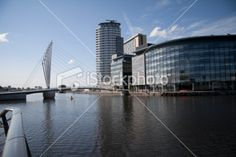 Modern Office Buildings at Salford Quays, Manchester Salford, Office Buildings, Architecture Photo, Image Now, Marina Bay Sands, Manchester, Stock Photos, Modern, Travel