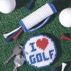"""Fore  A Golfer Plastic Canvas ePattern  - Finding a unique gift """"fore"""" a golfer is in the bag--with this miniature golf bag, that is! Paired with the matching key ring, the combo makes nice tokens, party favors, or Father's Day gifts for fans of the fairway. The designs are stitched using worsted weight yarn and 7 mesh plastic canvas. Number of Designs: 2 - Mini Golf Bag & Key Ring Approximate Design Size: Mini Golf Bag 1-1/2""""w x 3-1/4""""h & Key Ring 3""""w x 3""""h"""
