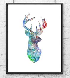 Deer art watercolor painting blue deer  artwork por Thenobleowl, $15.00