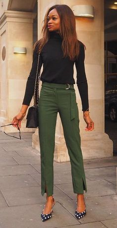 1d2551594ed Pretty Spring Outfits To Copy Right Now  Spring  Outfits Green Pants