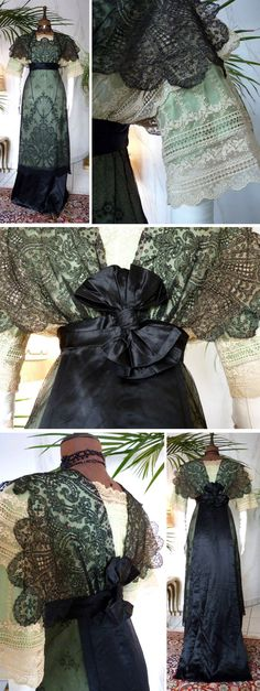 Dress ca. 1910. Black lace drawn over light green & black silk. Cream-colored lace at sleeves and neckline. High-set waistband closes in back with bow. Black silk serves as a train. Antique-Gown