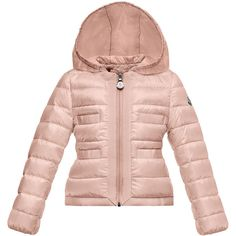 Moncler Alose Hooded Lightweight Down Puffer Coat ($420) ❤ liked on Polyvore featuring outerwear, coats, pastel pink, light pink coat, long sleeve coat, light weight coat, feather coat and lightweight puffer coat