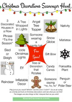 This is a set of 4 bingo cards to go on a Christmas scavenger hunt with friends and family. All have a different format, but the same items listed. Whether you are using it for your family, a youth group event, or even an adult party, have some fund exploring Christmas decorations where you live!Find more about how to use these cards and the multiple variations to the game that you can play in my post about Christmas Family Bingo…