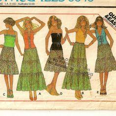 A Halter Top w/Strap Variations, & Elastic Waist Tiered Prairie Skirt Pattern, Vintage 1977