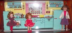 """very hard to find tin Marx """"Pretty Maid"""" tin doll kitchen with it's original box! This is a great display piece for your dolls such as Betsy McCall, Ginny and Jill. Kitchen Box, Vintage Dollhouse, Vintage Kitchen, Little Girls, Tin, Sweet, Candy, Toddler Girls, Pewter"""