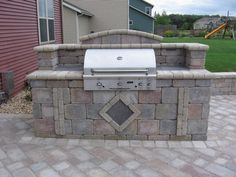 Built in Grill Bbq Island, Built In Grill, Retaining Walls, Outdoor Living, Outdoor Decor, Outdoor Kitchens, Outdoor Entertaining, Water Features, Milwaukee
