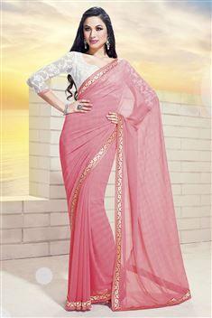Printed Jai Ho Peach Saree