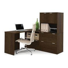 Bestar 150853 i3 by Bestar Solid End Return/1 Drawer File/2 Drawer File with Small Door Large Hutch L-Shaped Desk
