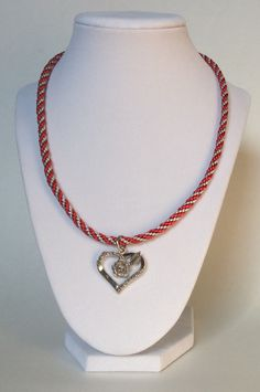 Red, Silver Braided Kumihimo Necklace with Rose & Heart Charm, Braided Necklace, Braided Rope Necklace, Pretty, Modern, Heart Necklace, Cute by CreationsByLacieK on Etsy