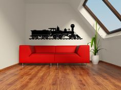 Train decal for boys room Wall Stickers Murals, Vinyl Wall Decals, Golden Spike, Trading Post, Kids House, Furniture, Etsy, Trains, Design