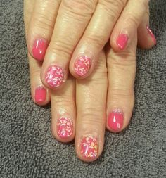Cnd shellac and additives Pink bikini, dream lily, pink gold sparkle,  cream puff, stamping