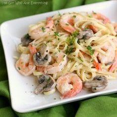 Pasta cremosa con champiñones y camarones ← Recetas de Cocina – Ricas recetas sencillas y rapidas.