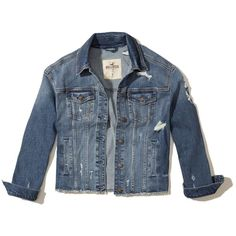 Hollister Oversized Ripped Denim Jacket (1.700 UYU) ❤ liked on Polyvore featuring outerwear, jackets, ripped medium wash, pocket jacket, distressed denim jacket, distressed jean jacket, hollister co jackets and blue jean jacket