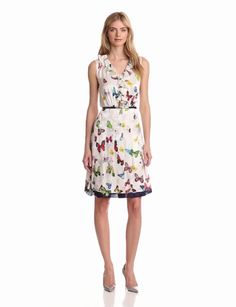 Magaschoni Women's Sleeveless Printed Ruffle Front Dress, Butterfly Scarf Print, 4