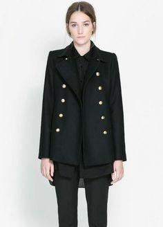 Black Notch Lapel Long Sleeve Buttons Outerwear
