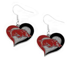 Arkansas Razorbacks Women's Swirl Heart Earings