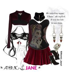 """""""Ms. Chaos"""" Pair a seductively, devilish corset with a mix of soft velvet and faux fur and cause a little bit of your own chaos.  #atomicjane @Atomic_Jane1 http://atomicjaneclothing.com"""