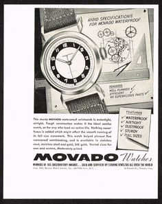 1940 Vintage 1942 Movado Watch Co Paper Print Ad. #movado #waterproof #vintage #watch #ads #ad #watches #stawc