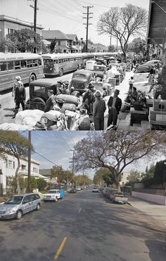 Then and Now WWII. Internment of Japanese Americans in U.S. WWII.   Buses lining up at 23rd Street and Vermont Avenue, L.A., on 30 April, 1942, to carry people of Japanese ancestry to the internment camp at Santa Anita racetrack. This photo was published in the 1 May, 1942, Los Angeles Times.