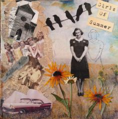 """Encaustic collage with pressed flowers titled, """"Girls of Summer"""" by Cathy Norosky"""