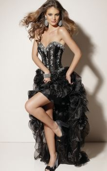Black Ball Gown Strapless,Sweetheart Natural Asymmetrical Sleeveless Cascading Ruffle Organza Lace-up Prom Dresses Dress