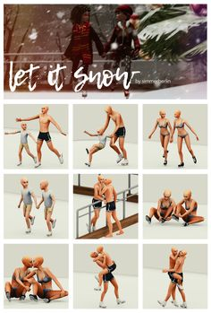 "sims 4 cc // custom content pose pack // ""let it snow"" by SB Simmer Berlin Toddler Poses, Kid Poses, Sims 4 Mm, My Sims, Sims 4 Couple Poses, Couple Posing, Sims 4 Stories, Sims 4 Toddler Clothes, Sims 4 Black Hair"