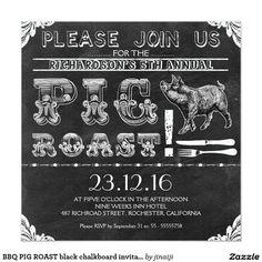 BBQ PIG ROAST black chalkboard invitations