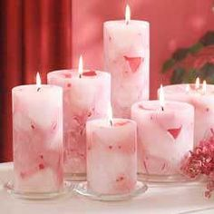 How are these pink candles made? Romantic Candles, Pink Candles, Beautiful Candles, Best Candles, Candle Art, Candle Lanterns, Pillar Candles, Homemade Candles, Scented Candles