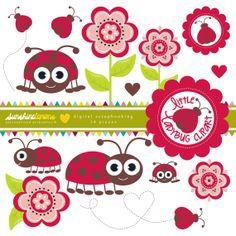 Little Ladybug / Ladybird Clipart  Flower by SunshineLemons, $4.95. So cute!!!