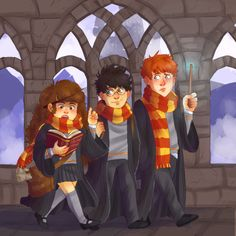 Hermione Granger, Harry Potter & Ron Weasley