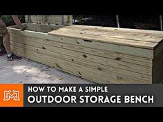 Modern Outdoor Storage Bench Ideas For 2019 Garden Storage Bench, Pool Storage, Storage Bench Seating, Bench With Storage, Built In Storage, Storage Baskets, Storage Ideas, Dyi, Modern Outdoor Storage