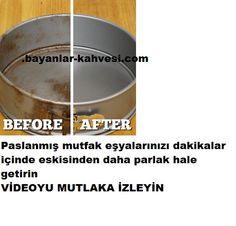 paslanmış mutfak eşyasını nasıl eski haline getirirsin.Bu yöntem ile paslanmış mutfak eşyalarınızı 5 dakika
