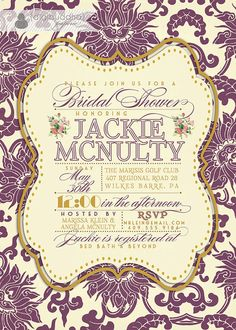 Damask Invitation Classic Plum and by digibuddhaPaperie, $23.00
