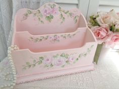 daSommers ROMANTIC ORGANIZER hp roses chic shabby vintage cottage hand painted #Unbranded #SHABBYCHICROMANCE