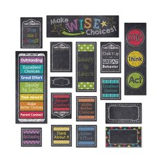Help students keep track of their behavior throughout the day and develop personal accountability for their choices with this whole class management tool. This eye-catching 21-piece set contains 9 pre