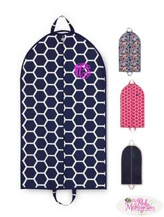 Monogrammed Canvas Garment Bags in new patterns at The Pink Monogram