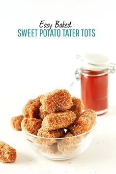 Easy Baked Sweet Potato Tater Tots! #vegan, 7 ingredients, and perfectly crisp and tender #minimalistbaker Baker Recipes, Vegan Recipes, Cooking Recipes, Sweet Potato Tater Tots, Potato Tots, Just Bake, Vegan Snacks, Vegan Appetizers, Healthy Snacks